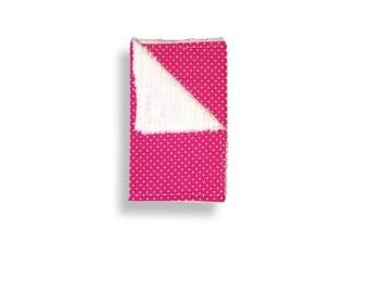 """Burp Cloth """"Hot Pink Polka Dots"""" ~ Baby/Toddler/drool//White"""