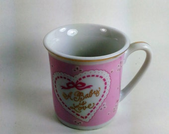 "Porcelain Pink And White MugWith Pink Ribbon/""A Baby Is Love""/ Keep Sake"