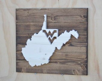 "West Virginia State Wood Plaque Cutout ""WV"""