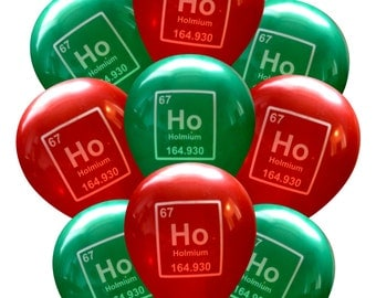 Periodic Table Ho Ho Ho Science Balloons - Pack of 9 | Nerdy Holmium Christmas | Geeky Party Decorations | Student Professor Teacher Chemist
