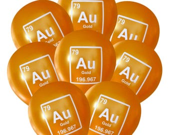 Gold (Au) Periodic Element Balloons - Pack of 8 | Geeky Science Party Decorations, Mad Science, Periodic Table, Nerdy Birthday, Graduation