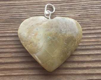 NATURAL PICTURE (Picasso) JASPER Gemstone Puffy Heart Pendant