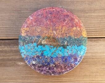 Huge! 7 CHAKRA LAYERED Orgone Gemstone Disk Charging Plate