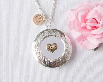 Family jewellery, Family locket necklace, mom necklace, Silver locket, mommy necklace, keepsake gift, gift for mom, SPIIMOMLO1