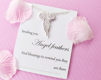 Angel necklace, angel wing necklace, angel jewellery, Message card necklace, inspirational message necklace, christmas gift, MCNangel05
