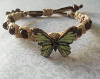 BUTTERFLY Adjustable Natural HEMP BRACELET w/ wood beads