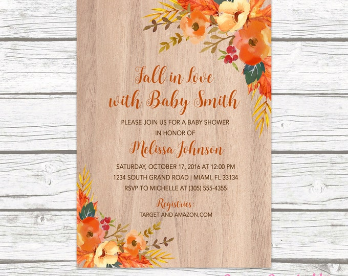 Falling in Love Baby Shower Invitation, Autumn Fall Floral Leaves Gender Neutral Rustic Wood Invite, Boy Girl Printable Printed