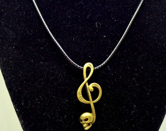 Music Treble Clef and Skull Pendant Necklace  Gothic Music Treble  Clef Skull Jewelry