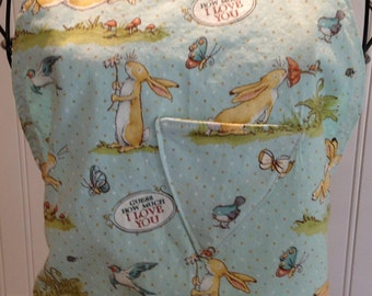 Summer Sale daughter apron, full apron, guess how much I love you, bunny, blue bird, butter yellow ribbon, reversible, triangle pockets, aqu