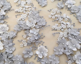 Luxury 3D gray  lace fabric, hand made pearl beads 3D flowers, French Lace, gray Embroidered lace, Wedding Lace,  K00462