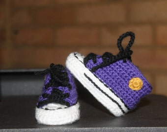 Crochet Baby SHOES, Baby Football shoes, Baltimore RAVENS inspired converse shoes (Handmade by me and not affiliated with the NFL)