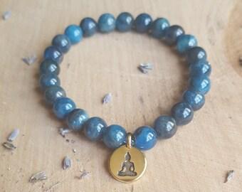 Blue Apatite Bracelet Stone Bracelet Apatite Crystal Jewelry Gemstone Buddha Bracelet Yoga Bracelet Healing Stone Meditation Jewelry