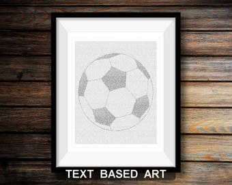 Soccer Ball - Text Art Print