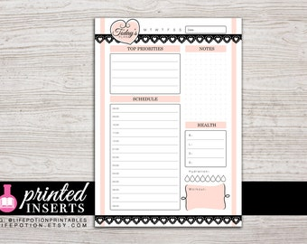 A5 Printed Planner Inserts - Daily - with Schedule or To Do - Filofax A5 - Kikki K Large - Design: Mademoiselle