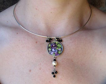 Victorian Purple Flower Collar necklace