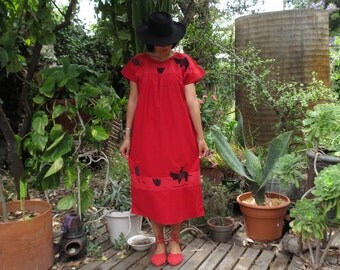 Mexican El Ranchero Y Su Burro Dress / Oaxacan Huipil Dress / Ethnic Embroidered Dress