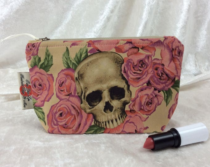Resting In Roses Zip Case Bag Pouch fabric Alexander Henry design Handmade in England