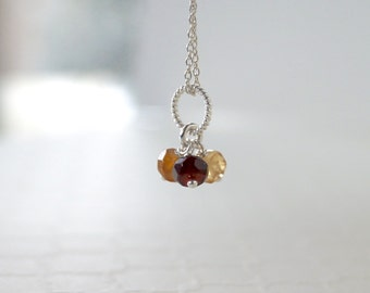 Hessonite Garnet Pendant - Sterling Silver - Genuine Natural Hessonite Garnet Gemstone Pendant Trio - January Birthstone Jewelry