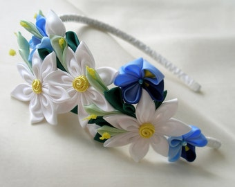 Lily flower crown Kanzashi Blue white accessory Rustic floral hairband White flower girl gift ideas Woodland headpiece Wedding hair wreath