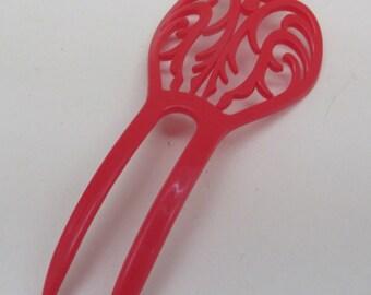 Vintage Red Plastic Flamenco Peineta/Hair Comb from Seville