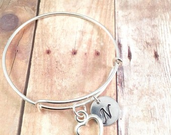 Heart bracelet, Little Girl bracelet, personalized initial charm bracelet, heart charm bracelet, little girl jewelry, valentines day