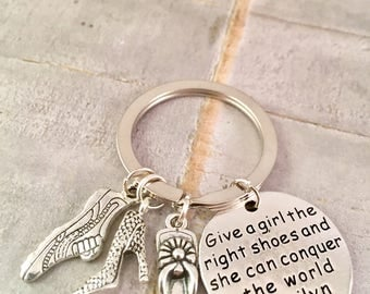 Graduation Gift, Friend Gift, New Job Gift, Marilyn Monroe Keychain, Give a girl the right shoes Quote, BFF, Best Friend Gift, High Heels