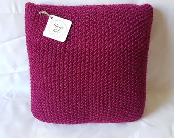 Knit Cushion, Wool Cushion, Decorative Pillow, Decorative Knitted Pillow, Cushion, Pillow, Fuschia Pillow