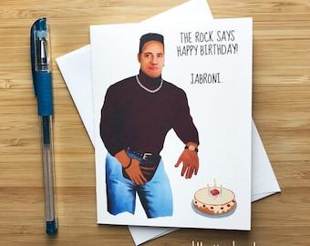 Funny Rock Birthday Card, The Rock, Dwayne Johnson, WWE Rock, Birthday Card for Friend, Happy Birthday Card, Funny Greeting Card Boyfriend