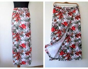 Floral Wrap Skirt, Linen Pencil Skirt, Michele Boyard Skirt, German Linen Skirt, Long Linen Skirt, Size EU 42,  US 12/14