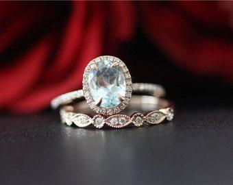 Wedding Ring Set 14K Rose Gold Aquamarine Ring Set Unique Wedding Ring Set 6x8mm Oval Cut Aquamarine Engagement Ring&Match Band/Anniversary