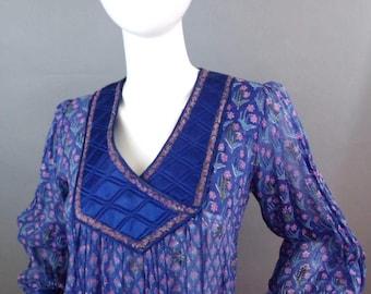 Sale Vintage sheer 1970s india gauze boho bohemian dress