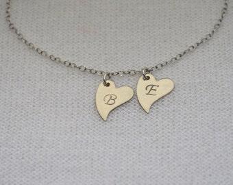 MONOGRAM HEART BRACELET // Silver Heart Bracelet - Heart Bracelet Personalized - Initial Bracelet - Letter Bracelet - Initial Heart Bracelet