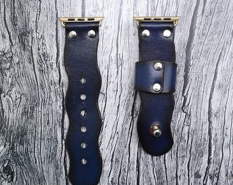 Blue Genuine leather apple watch band 38mm / 42mm // apple watch strap accessories - lugs adapter - iwatch band gold - iwatch strap