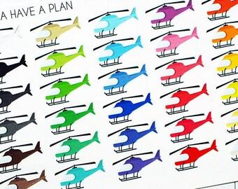 Planner Stickers Helicopter for Erin Condren, Happy Planner, Filofax, Scrapbooking