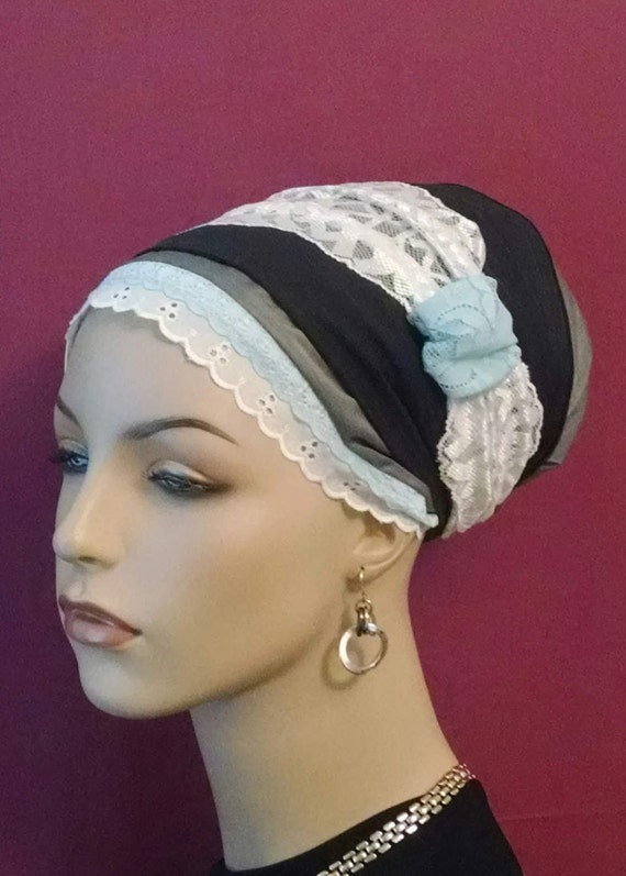 Classic and feminine lace and cotton sinar tichel, tichels, head wraps, head scarf, chemo scarf, mitpachat