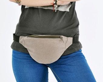 Beige jeans Waist bag money belt hip bag belt bag fanny pack, beige cotton bum bag, festival bag, gift for him