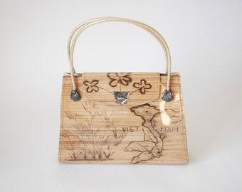 60s Vietnam Bamboo Handbag - Sweetheart Gift Purse - Vintage Vietnam Souvenir