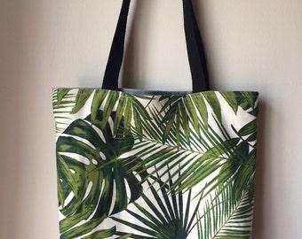 Tropical Tote Bag, Tropical Leaves Bag, Palm Leaf Beach Bag, Fabric Bag with Pockets, School Book Bag, Shopping Bag, Pool Bag
