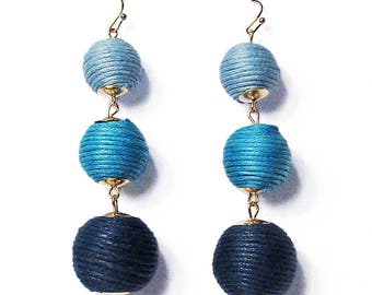 3-Tiers Of Multi Blue Sheen Disco Ball Drop Earrings