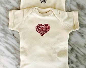 Hand Stamped Newborn Baby Bodysuit - Hearts & Bugs
