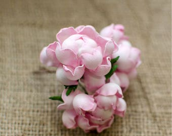 Pink Roses Foam Flowers 6 pcs Wedding Flower Jewelery making Supplies Miniature Flowers