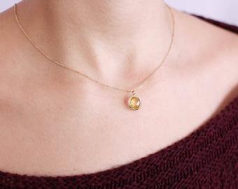Gemstone Necklace, Gold Gemstone Necklace, Lemon Quartz Necklace, Lemon Quartz Gold Necklace, Yellow Stone Necklace, Gem Necklace, GN0341