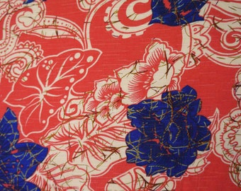"Home Decor Rayon Fabric, Floral Print, Salmon Fabric, Sewing Crafts, Dressmaking Fabric, 59"" Inch Fabric By The Yard ZBR237C"