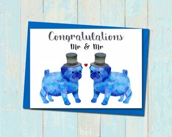 Cute pug wedding card, Gay wedding card, Mr and Mr pug wedding card, Pug lover wedding card, Unique wedding card, Groom and Groom card