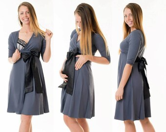 3-in-1 maternity clothes maternity dress still dress maternity wear satin bow