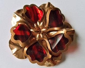 Vintage Celluloid & Gold Tone Metal Flower Pin Brooch, Red Tortoiseshell Plastic Exotic Flower Brooch, Extra Large Figural Floral Pin, 1960s