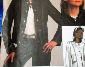 Vogue Pattern, V1036, Misses jacket, hip length jacket, top stitching, side front pockets, 2 piece sleeve, shaped hemline, sz: OSZ