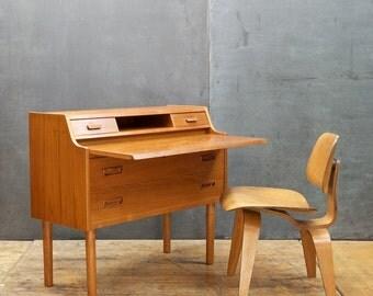danish teak writing desk dresser cabinet secretary iversen vinde mid century vintage modern vintage modern dollhouse furniture 1200 etsy