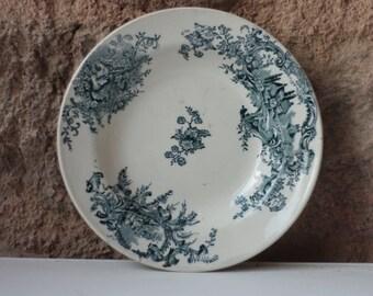 Antique French Blue Porcelain Soup Bowl, Stencilware