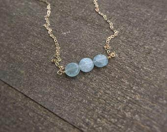 14k gold filled sterling silver aquamarine coin bead bar necklace / dainty tiny necklace / bridesmaid / minimalist / March birthstone